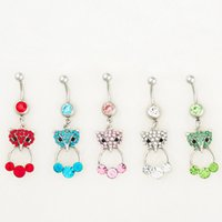 Wholesale jewelry foxes - D0526 ( 5 colors ) MIX colors styl belly ring style newly fox style Rings Body Piercing Jewelry Dangle Accessories Fashion Charm 10PCS