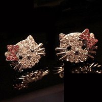 Wholesale Crystal Kitty Cat Earrings - 2016 Hot Bow-knot KT jewelry Crystal Cat Stud Earrings Brincos Cute Rhinestone Hello Kitty Earrings for woman Pendientes