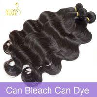 Wholesale 4bundles Virgin Indian Hair - Grade 10A Brazilian Virgin Hair Body Wave Unprocessed Raw Peruvian Indian Malaysian Human Hair Weave 3 4Bundles Lot Natural Color Can Bleach