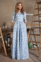 Wholesale Empire Waist Square Neck - High Quality Explosion Best Sellers European Suit-dress Printing Long Sleeve Waist Dress Goods In Stock