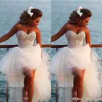 Wholesale Dresses Blingbling - Blingbling Sweetheart Ball Gown Wedding Dresses Vestio De Novia Sexy Hi Lo Tulle Crystal Beaded Beach Backless Beach Bridal Gowns BO6740