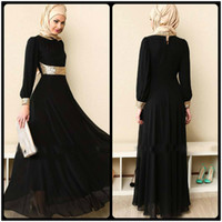 Wholesale Da Sposa - Muslim Evening Dresses High Quality Vestito Da Sposa Long Sleeves High Neckline Arabic Chiffon Evening Dress Long Black Formal Dress