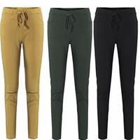 Wholesale Black Leggings Pockets - Elastic Waist Kill Hole Pants Skinny Fashion Women Pockets Pants Girl Ladies Sexy Clothes Leggings Trousers Skinny Pencil Jeans Slim Legging