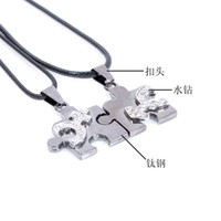Wholesale Puzzle Titanium Lovers Necklace - Love puzzles pendant couple necklace New Wild fashion Titanium steel Necklace Valentine's Day jewelry for lover
