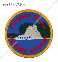 Wholesale Rocks Picture - PICTURED ROCKS MUNISING MICHIGAN Travel Souvenir Patches Embroidered Iron On badge wappen clothing Outdoor halloween costume