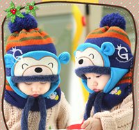 Wholesale Winter Accessories Ear Muffs - Lovely Monkey Design Hats Baby Caps Kids Aviator Hat Bomber Winter Cap Baby Bonnet Hat and Scarf set For Children Accessories