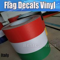 Wholesale Car Body Stripes - New design Italy Flag Hood Stripes Car Stickers Decal for Bonnet, Roof, Trunk for Volkswagen Mini DIY Car decals 15cmx30m Roll