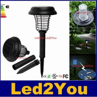 Wholesale Uv Mosquito Killer - UV LED Solar Powered Outdoor Yard Garden Lawn Light Anti Mosquito Insect Pest Bug Zapper Killer Trapping Lantern Lamp