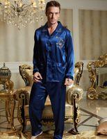 Wholesale silk sleepwear sets - Fashion 2017 Sale Men Pajamas Emulation Silk Regular Full Sleeve Pijama Casual Solid Turn-Down Collar Sleepwear Embroidery 3313