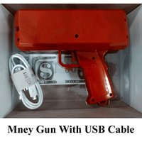 Wholesale Plastic Cannons - 1pcs sell money Gun Cash Cannon Money Gun with USB Cable to Charge Fashion Toy Make It Rain Money Christmas Gift Toys