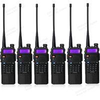 Wholesale Dual Walkie - 6pcs lot portable baofeng UV5R two way radio big battery 3800mAh Dual Band UHF VHF 136-174 400-520 walkie talkie