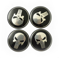 Wholesale Vw Decals - 4pcs lot Cool Punisher Car Steering tire Wheel Center car sticker Hub Cap Emblem Badge Decals Symbol For Honda VW Audi BMW Nissan Ford Toyot