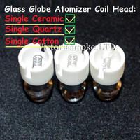 Wholesale wax glass bulb atomizer - Newest Quartz Ceramic Cotton Coil Head for Glass globe wax atomizer dual Replacement coil head for glass globe bulb atomizer ecigs Coil Head