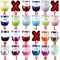 Wholesale Christmas Mug Wholesaler - swig Egg Cup 9oz Stemless wine glasses cups Coated Stainless Steel beer mugs wine cup With Lid Christmas party beer water bottles