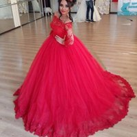 Wholesale gowns feathers designs - 2017 New Design Long Red Ball Gown Prom Dresses Off Shoulder Long Illusion Sleeves Floor Length Quincenera Dresses Evening Party Gowns