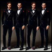 Wholesale Men Double Breasted Suits - Burgundy Velvet Formal Men Suits Groom Groomsmen Tuxedos Peak Lapel Wedding Morning Suits (Jacket+Pants+Vest+Bow Tie)