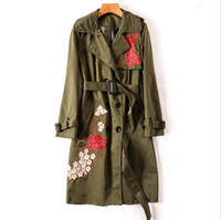 Wholesale Trench Coats Women Wear - European and American women's wear 2017 The new winter Heavy industry embroidery belt double-breasted Trench coat
