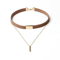 Black Brown Velvet Alloy Chain Choker Necklace Multi-layer Charm Metal Bar Pendant Bib Collar Colares Mulheres Moda Jóias Presentes Acessórios