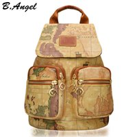 Wholesale world map high quality - High quality world map backpack special men and women backpack fashion leather backpack brand printing backpack travel backpack