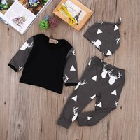 Wholesale Kid Clothing Logo - 2017 baby boy clothes Newborn kids boys Girls clothing famous brand logo Deer print long sleeve Tshirt+Pants Leggings+hat 3pcs Outfits Sets
