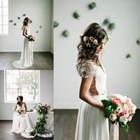 Wholesale Sexy Romantic Chiffon Wedding Dress - BHLDN 2016 Romantic Bohemian Wedding Dresses with Capped Sleeves Chiffon Floor Length Beaded Back Sexy Boho Bridal Gowns