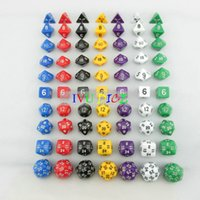 70pcs DND Table BOARD GAME DungeonsDragons número dados 7 colores D4 D6 D8 D10 Purple Black Blue White Green Partido infantil dados IVU