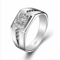 Wholesale Mens Cz Rings Sterling Silver - 925 silver silver rings infinity bramen mens Engagement Rings CZ Diamond wedding engagement jewelry Fine Jewelry