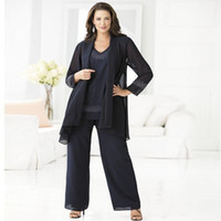 Wholesale groom mothers outfits resale online - 2018 Navy Blue Chiffon Plus Size Mother Of The Bride Groom Pant Suits Elegant Piece Pant Suit Cheap Wedding Outfits Dress