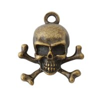 Wholesale Antique Bronze Skull Charm - Wholesale 16*18mm Skull Alloy Charms In Antique Bronze Plating Punk Jewelry Finding Pendant Charms Drop Shipping AAC152
