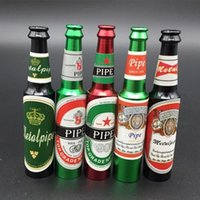 Wholesale Wine Accessories Wholesalers - High Quality Beer Bottle Style Metal Smoking Hand Pipe Mini Size Tobacco Smoke Filter Pipes Small Smoking Accessories Beer Wine Pattern