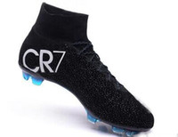 Wholesale Men S Lace - Best football shoes men's CR7 CR501 boots new Ronaldo cr7 Black soccer boots superflys football boots high tops soccer cleats s