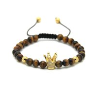 Wholesale Natural Blue Tigers Eye Bracelet - 6mm Natural Tiger Eye Grey Jasper Bronzite Blue Veins Stone Beads Gold And Silver Plated Crown Braided CZ Bracelet