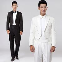 Wholesale Swallowtail Tuxedo - Wholesale-S-XXXL! 2016 New Men's clothing Male tuxedo set white suit groom direct service costume Swallowtail formal dress SInger