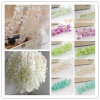 Wholesale Simulation Flower Artificial Vine - 50PCS Artificial Silk Wisteria Flower For DIY Wedding Arch Square Rattan Simulation Flowers Wall Hanging Basket Can Be Extension