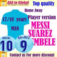 Wholesale Messi Football Player - Customize Player version MESSI home Soccer Jersey 2018 away Soccer Shirt O.DEMBELE SUAREZ club team third Football uniform 2017 Sales