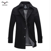 Wholesale Cheap Mens Down Jackets - Fall-2016 Fashion trench coat men jacket men cheap mens trench coats cotton Hot Selling turn-down collar plus size 4XL