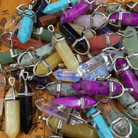 Wholesale natural gemstones pendants - Hot Sale Jewelry Gemstone Rock Natural Crystal Quartz Healing Point Chakra Stone Pendant Necklace Charms free shipping
