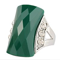 Wholesale Silver Ring Pillow - Bohemia Resin rhombus Faceted rectangle green Gem ring Imitation big Surface jade Emerald ring Pillow shape Onyx black agate rings girl j305