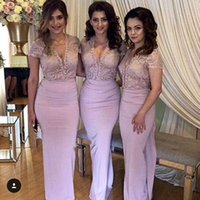 Wholesale Delicate Mermaid V Neck - 2017 Delicate Sexy Deep V Neck Bridesmaid Dresses Mermaid Lace Bodice Cap Sleeves Floor Length Pageant Party Dresses