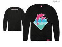 heiße orange rosa hemden großhandel-Hüfte-Hopfenrosa-Delphint-shirts Druckendes Kleidungsbaumwollart und weises volles T-Shirt Spitzenmarkent-stück Oansatz langes neues heißes freies Verschiffen