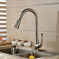 Wholesale Two Functions Brushed Nickel Dual Sprayer Kitchen Faucet Single Handle Pull Out Kitchen Mixer Tap