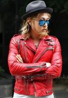 Wholesale Punk Rock Leather Jacket Men - Fashion Harajuku Gothic Fashion Motorcycle Slim Fit Men Leather Jacket Punk Rock Biker Red Mens Leather Jackets And Coats Black
