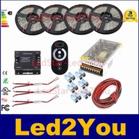 Luz Led Ruban Baratos-20m SMD5050 SMD5630 impermeable SMD2835 tira llevada luz de tira impermeable Ruban regulable 12V + RF Touch Controller + Power Kit Adaptador de CE ROHS