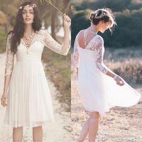Wholesale Cheap Short Casual Wedding Dresses - 2016 Cheap White Chiffon Knee Length Short Beach Wedding Dresses Vintage V Neck 3 4 Long Sleeves Casual Summer Bridal Gowns