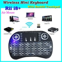 Rii I8 plus i8 + intelligent Fly Air Mouse Télécommande Backlight 2.4GHz Wireless Bluetooth Touchpad Clavier Pour PC Box Android Blanc Noir
