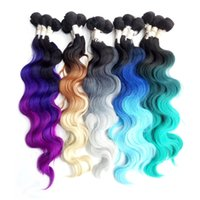 """Wholesale Synthetic Body Wave Weave - 3 bundle Hair with one Machine Closure 18"""" 20"""" 22"""" Blue Green Synthetic Hair Ombre Weave Extension High Temperature Fiber Body Wave Weft"""