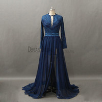 Wholesale Navy Belt Dress - 2017 Navy Sheath Evening Dresses with Belt Side Split Jewel Neckline Long Sleeves Beaded Sequins Keyhole Back Lace Party Prom Gowns