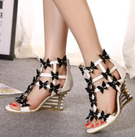 Wholesale Black Wedge Flower - Recommended 2016 White black flower hollow out wedge heel sandals bride wedding shoes women 9cm size 35 to 40