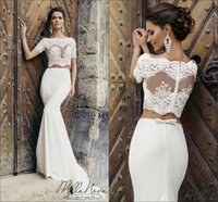 Wholesale Silk Two Piece Wedding Dresses - 2017 Two Piece Mermaid Wedding Dresses Naviblue Sheer Bateau Neck Short Sleeves Lace Appliques Bodice Bow Sheath Bridal Gowns with Train
