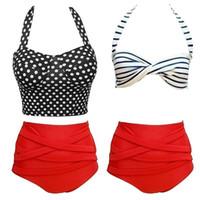 Wholesale retro high waisted bikini for sale - 2016 Brand Vintage Women Push Up Bikini Swimsuit Retro Rockabilly Polka Dot New Swimwear High Waisted Bikinis